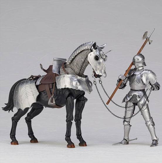 タケヤ式自在置物 15世紀ゴチック式エクエストリアンアーマー 海洋堂 可動フィギュアが登場!騎手用甲冑と軍馬のセット!馬上槍も付属! 0201hobby-armer-IM003