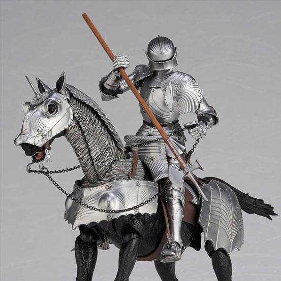 タケヤ式自在置物 15世紀ゴチック式エクエストリアンアーマー 海洋堂 可動フィギュアが登場!騎手用甲冑と軍馬のセット!馬上槍も付属! 0201hobby-armer-IM004